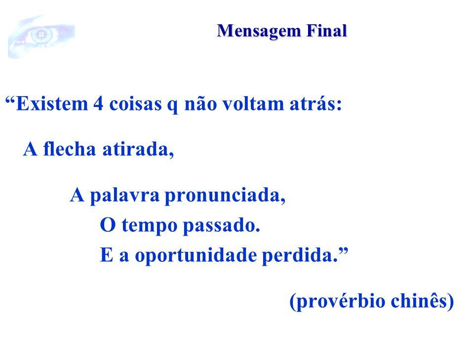 Mensagem Final Existem 4 coisas q não voltam atrás: A flecha atirada, A palavra pronunciada, O tempo passado.