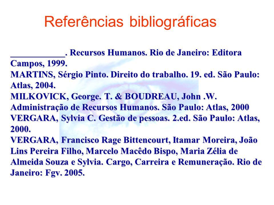 ____________.Recursos Humanos. Rio de Janeiro: Editora Campos, 1999.