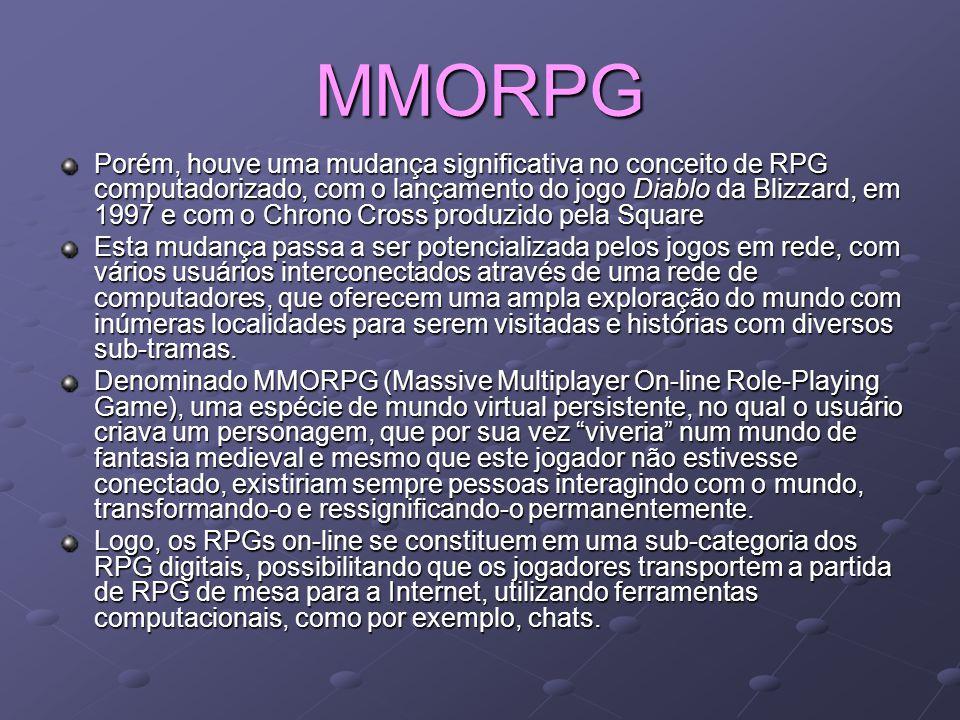 MMORPG Porém, houve uma mudança significativa no conceito de RPG computadorizado, com o lançamento do jogo Diablo da Blizzard, em 1997 e com o Chrono