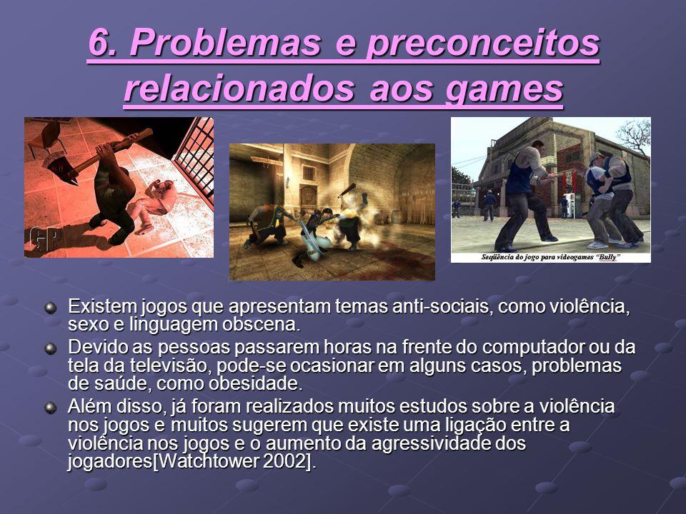 6. Problemas e preconceitos relacionados aos games Existem jogos que apresentam temas anti-sociais, como violência, sexo e linguagem obscena. Devido a