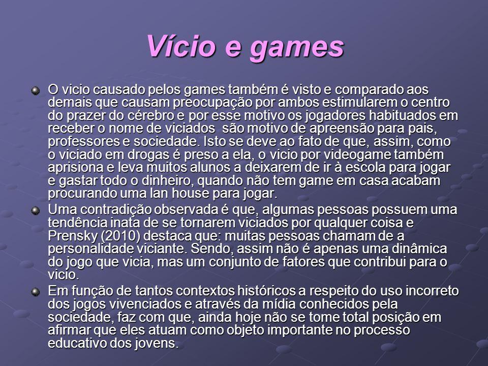 Vício e games O vicio causado pelos games também é visto e comparado aos demais que causam preocupação por ambos estimularem o centro do prazer do cér