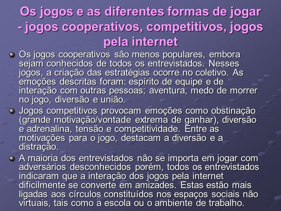 Os jogos e as diferentes formas de jogar - jogos cooperativos, competitivos, jogos pela internet Os jogos cooperativos são menos populares, embora sej