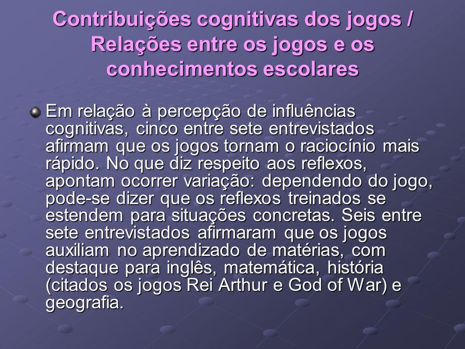 Contribuições cognitivas dos jogos / Relações entre os jogos e os conhecimentos escolares Em relação à percepção de influências cognitivas, cinco entr