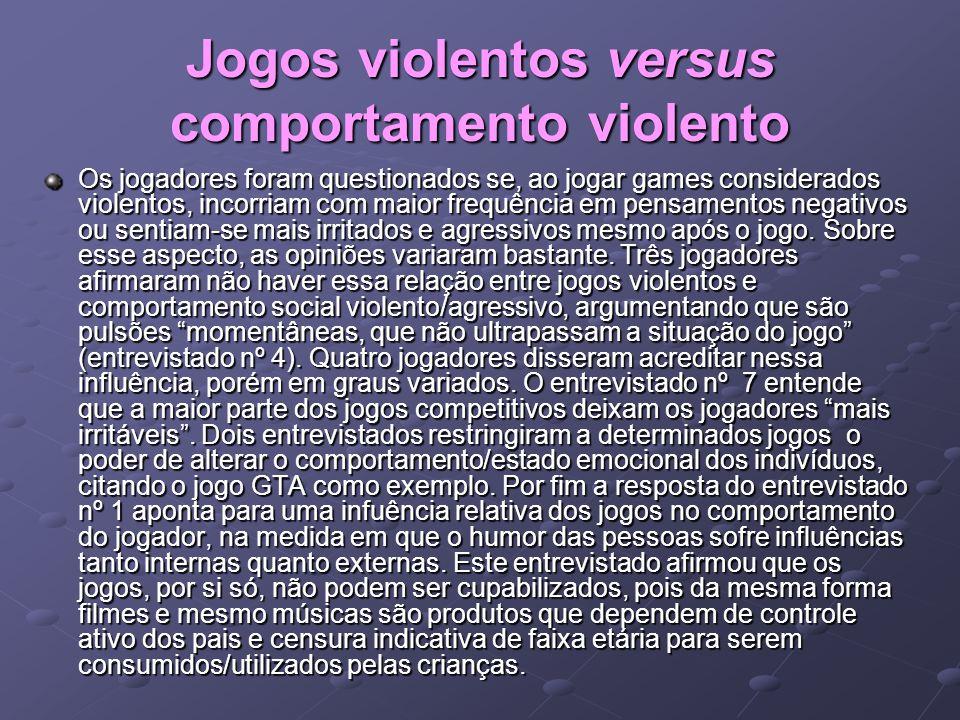 Jogos violentos versus comportamento violento Os jogadores foram questionados se, ao jogar games considerados violentos, incorriam com maior frequênci