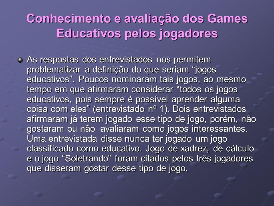 """Conhecimento e avaliação dos Games Educativos pelos jogadores As respostas dos entrevistados nos permitem problematizar a definição do que seriam """"jog"""