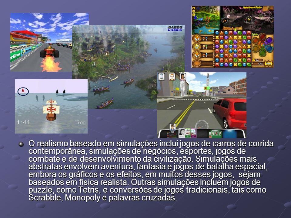 O realismo baseado em simulações inclui jogos de carros de corrida contemporânea, simulações de negócios, esportes, jogos de combate e de desenvolvime