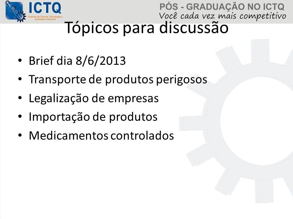 Tópicos já abordados  RESOLUÇÃO 365/2001 CFF Responsabilidade técnica do farmacêutico em distribuidora, representante, importador e exportador de medicamentos, insumos farmacêuticos e correlatos.