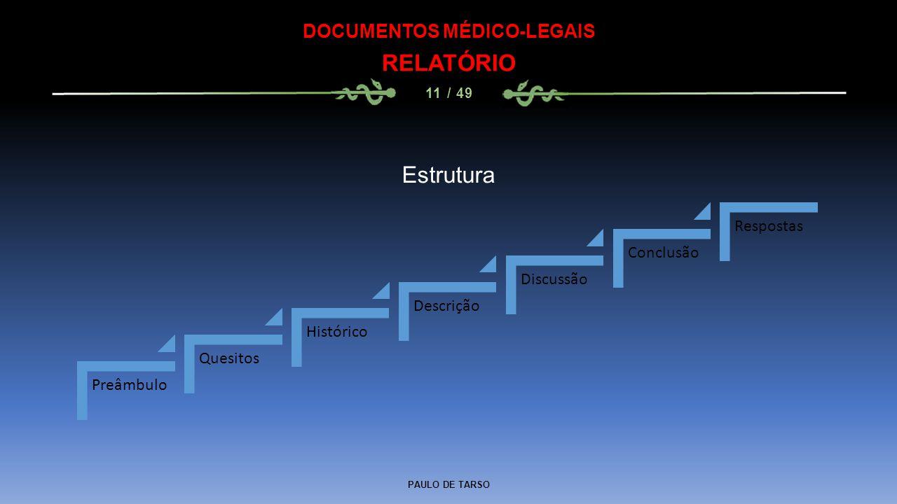PAULO DE TARSO DOCUMENTOS MÉDICO-LEGAIS RELATÓRIO 11 / 49 Preâmbulo Quesitos Histórico Descrição Discussão Conclusão Respostas Estrutura