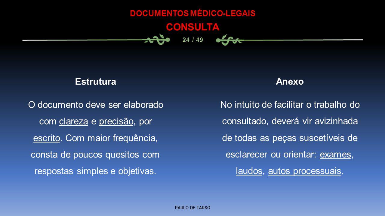 PAULO DE TARSO DOCUMENTOS MÉDICO-LEGAIS CONSULTA 24 / 49 Anexo No intuito de facilitar o trabalho do consultado, deverá vir avizinhada de todas as peç