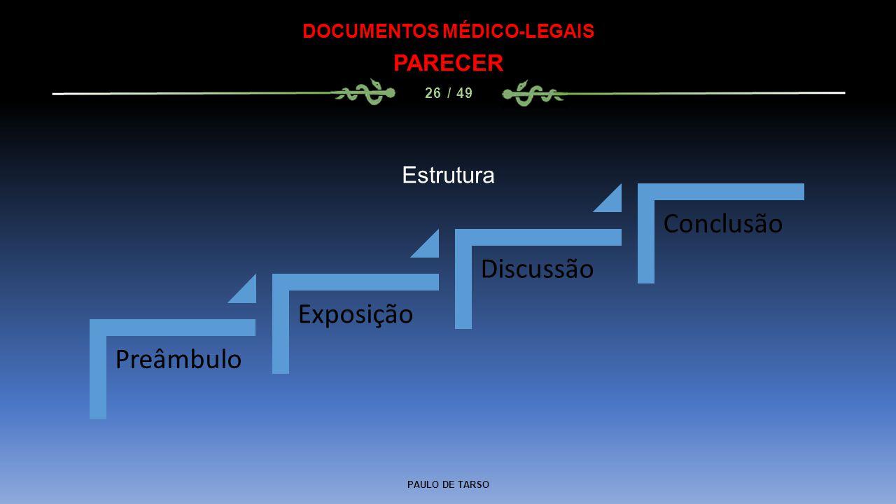 PAULO DE TARSO DOCUMENTOS MÉDICO-LEGAIS PARECER 26 / 49 Preâmbulo Exposição Discussão Conclusão Estrutura