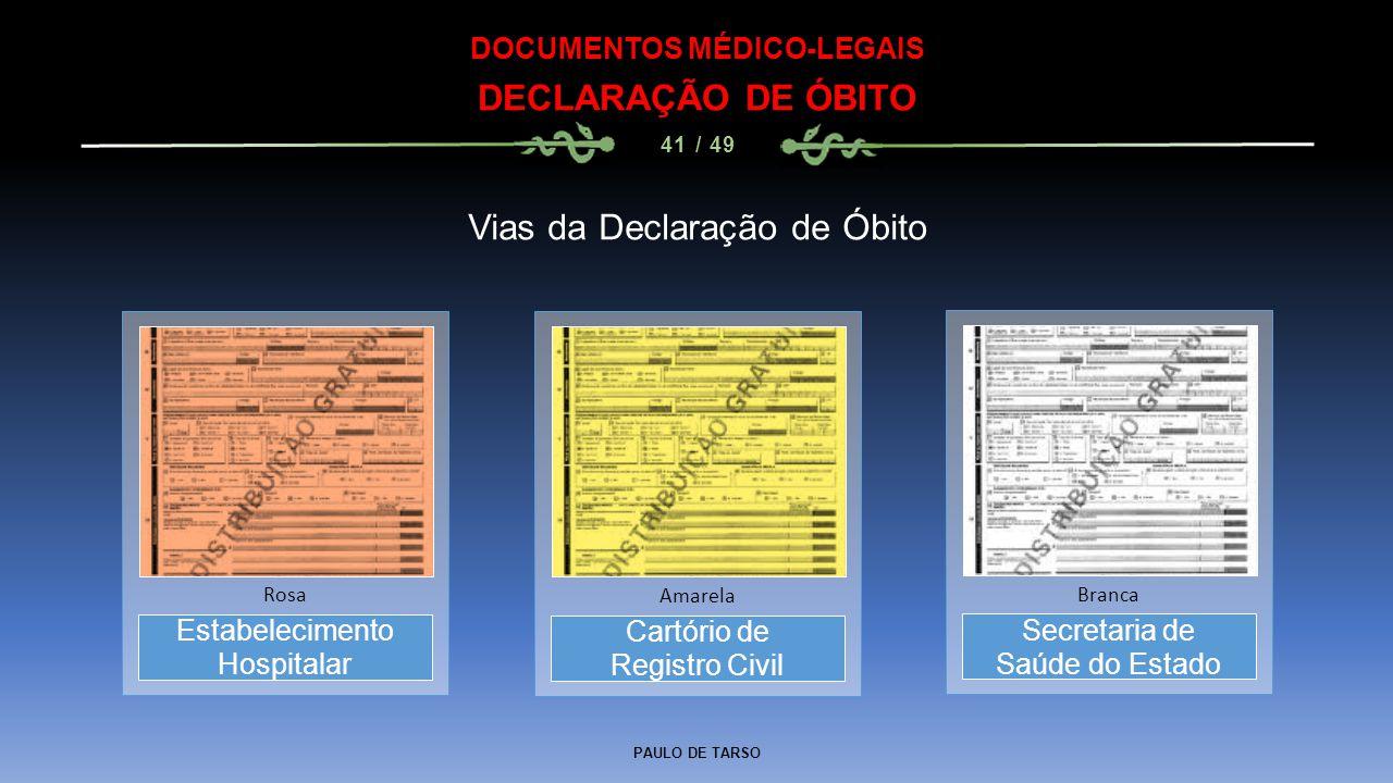 PAULO DE TARSO DOCUMENTOS MÉDICO-LEGAIS DECLARAÇÃO DE ÓBITO 41 / 49 Estabelecimento Hospitalar Rosa Vias da Declaração de Óbito Cartório de Registro C