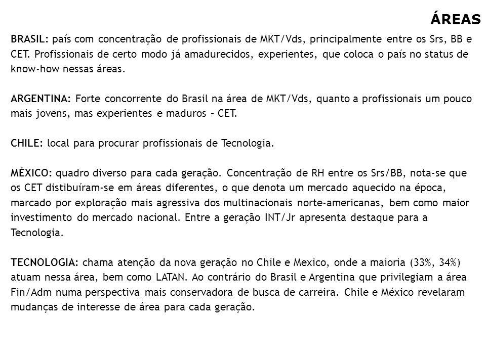 20 ÁREAS BRASIL: país com concentração de profissionais de MKT/Vds, principalmente entre os Srs, BB e CET. Profissionais de certo modo já amadurecidos