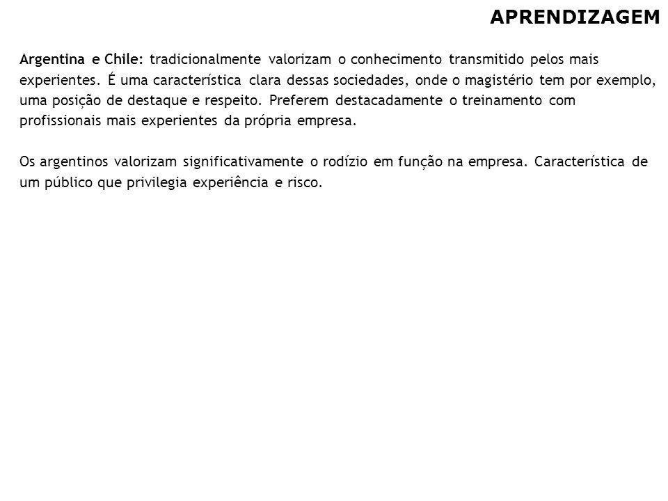 56 APRENDIZAGEM Argentina e Chile: tradicionalmente valorizam o conhecimento transmitido pelos mais experientes. É uma característica clara dessas soc