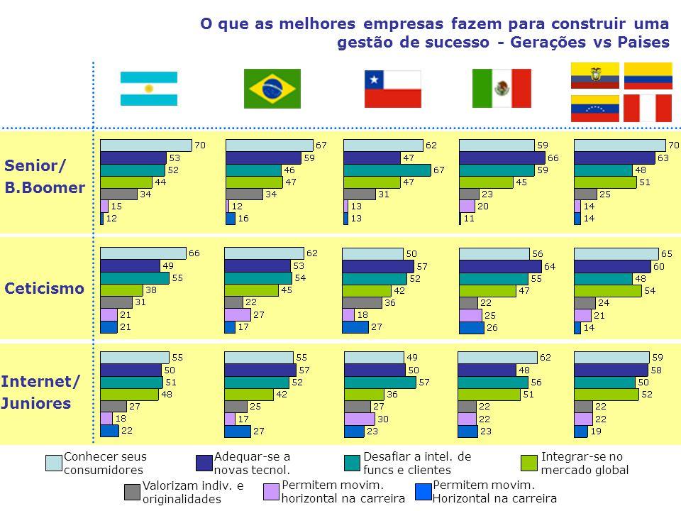 Senior/ B.Boomer Ceticismo Internet/ Juniores O que as melhores empresas fazem para construir uma gestão de sucesso - Gerações vs Paises Conhecer seus