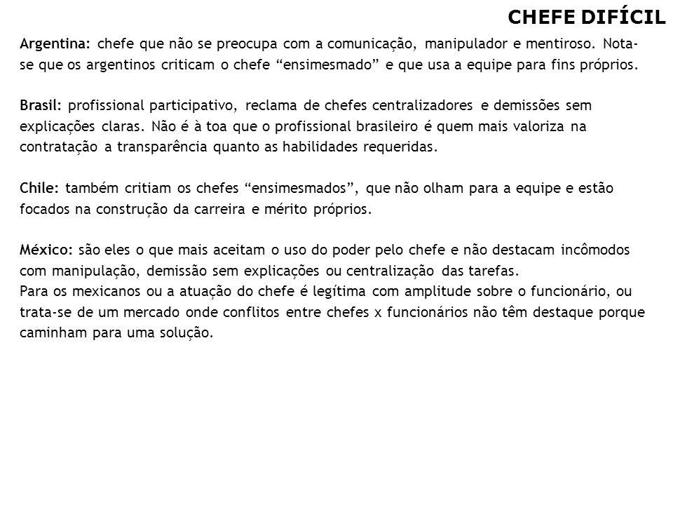 """98 CHEFE DIFÍCIL Argentina: chefe que não se preocupa com a comunicação, manipulador e mentiroso. Nota- se que os argentinos criticam o chefe """"ensimes"""