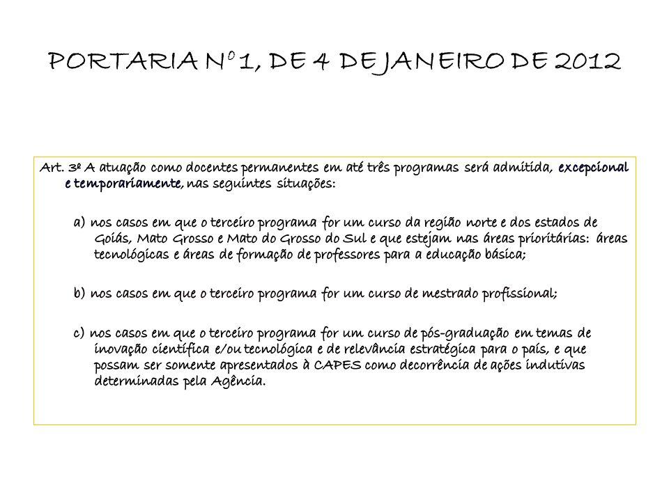 PORTARIA N o 1, DE 4 DE JANEIRO DE 2012