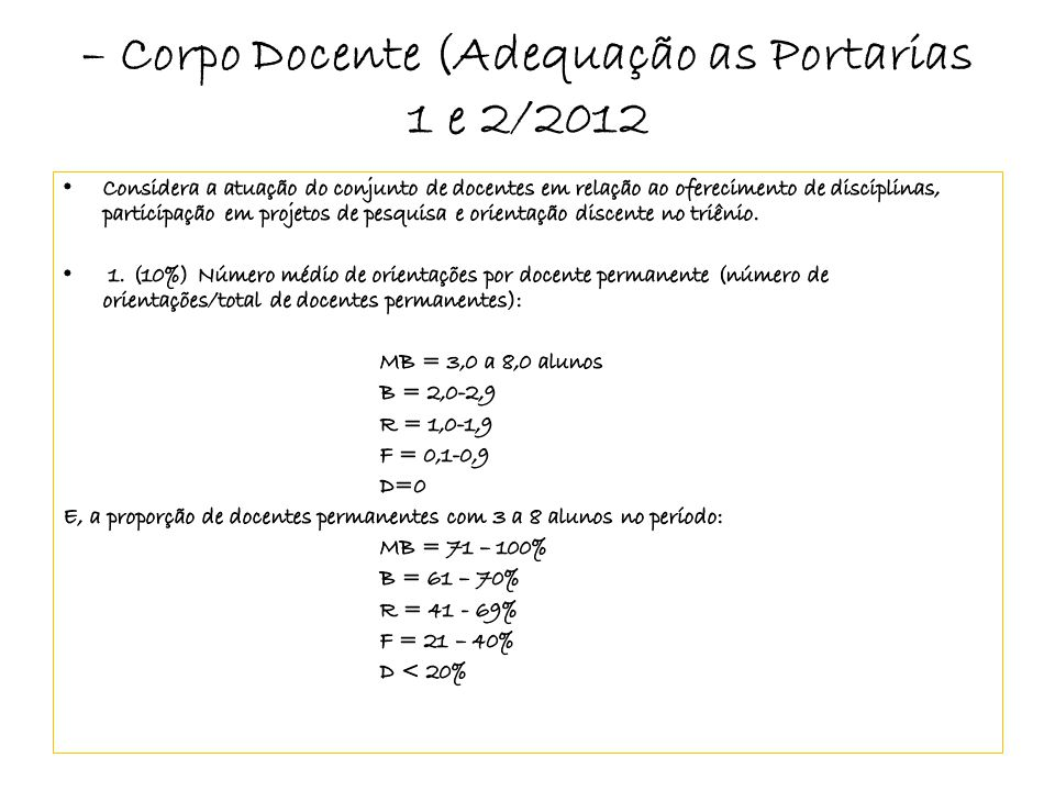 – Corpo Docente (Adequação as Portarias 1 e 2/2012