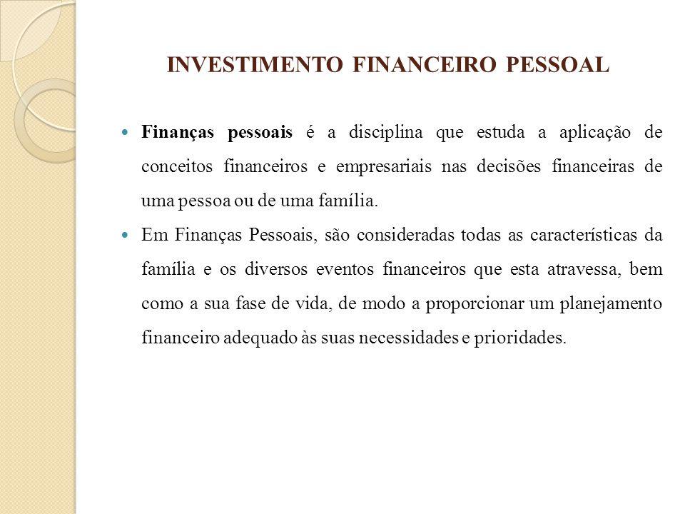 INVESTIMENTO FINANCEIRO PESSOAL Finanças pessoais é a disciplina que estuda a aplicação de conceitos financeiros e empresariais nas decisões financeir