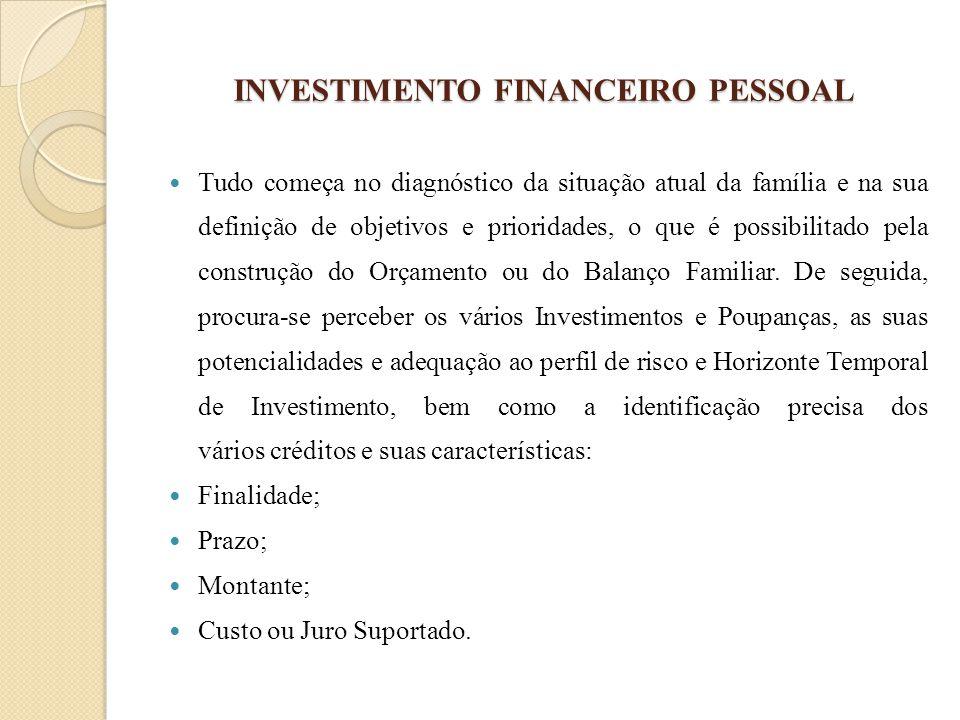 INVESTIMENTO FINANCEIRO PESSOAL Tudo começa no diagnóstico da situação atual da família e na sua definição de objetivos e prioridades, o que é possibi