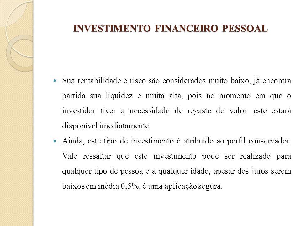 INVESTIMENTO FINANCEIRO PESSOAL Sua rentabilidade e risco são considerados muito baixo, já encontra partida sua liquidez e muita alta, pois no momento