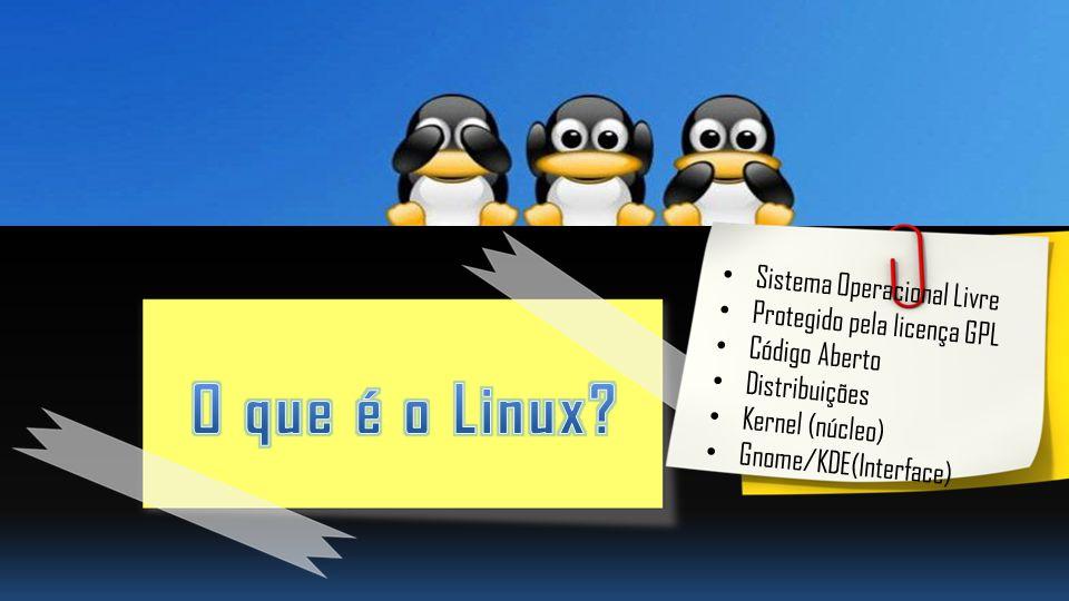 Sistema Operacional Livre Protegido pela licença GPL Código Aberto Distribuições Kernel (núcleo) Gnome/KDE(Interface)