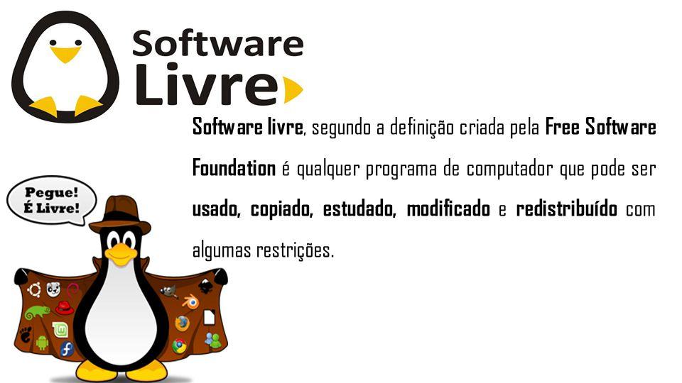 Software livre, segundo a definição criada pela Free Software Foundation é qualquer programa de computador que pode ser usado, copiado, estudado, modi