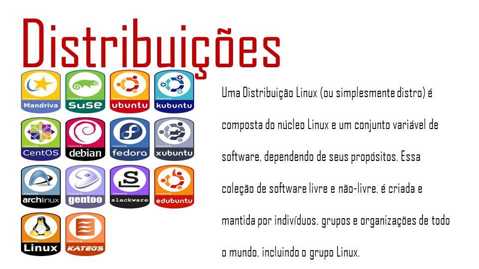 Distribuições Uma Distribuição Linux (ou simplesmente distro) é composta do núcleo Linux e um conjunto variável de software, dependendo de seus propós