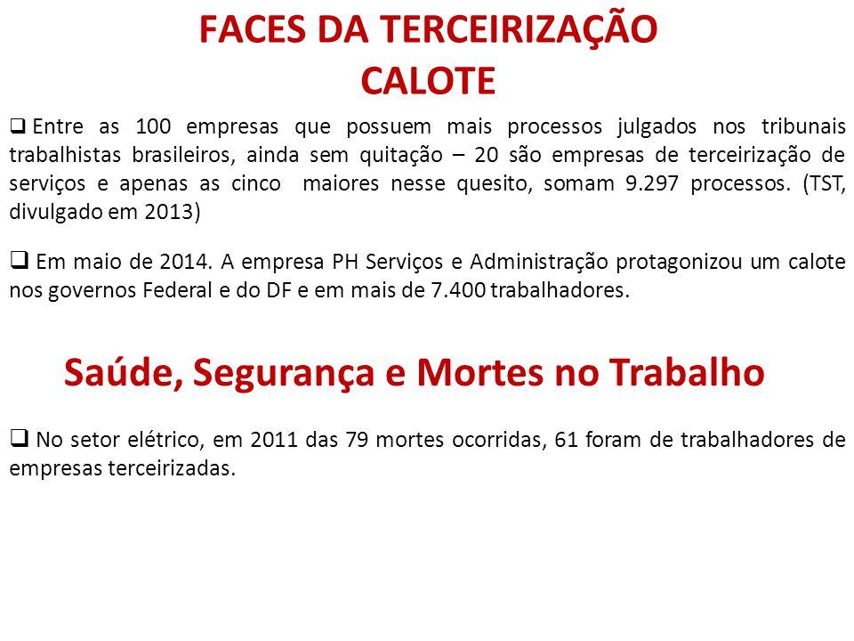 FACES DA TERCEIRIZAÇÃO CALOTE  Entre as 100 empresas que possuem mais processos julgados nos tribunais trabalhistas brasileiros, ainda sem quitação –