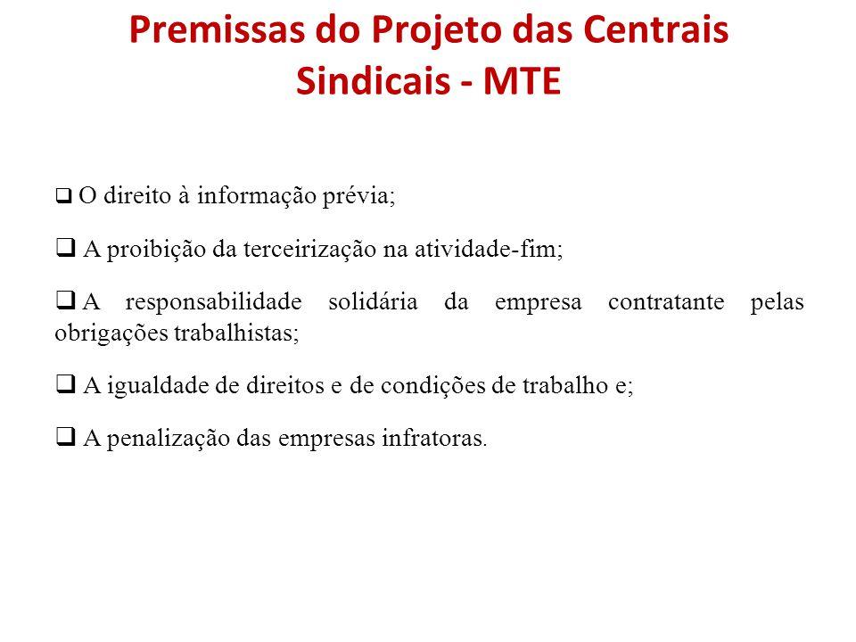 Premissas do Projeto das Centrais Sindicais - MTE  O direito à informação prévia;  A proibição da terceirização na atividade-fim;  A responsabilida