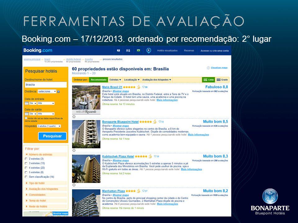 FERRAMENTAS DE AVALIAÇÃO Booking.com – 17/12/2013. ordenado por recomendação: 2° lugar