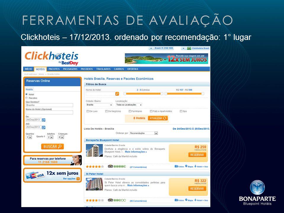 FERRAMENTAS DE AVALIAÇÃO Clickhoteis – 17/12/2013. ordenado por recomendação: 1° lugar
