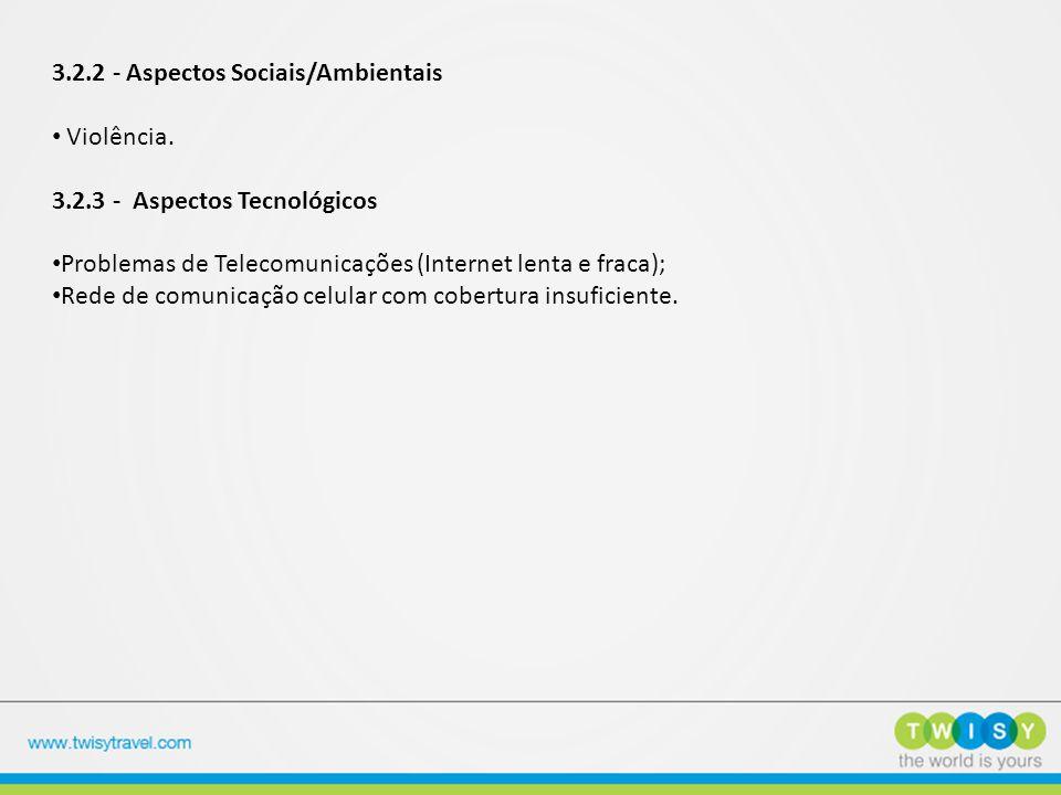 3.2.2 - Aspectos Sociais/Ambientais Violência. 3.2.3 - Aspectos Tecnológicos Problemas de Telecomunicações (Internet lenta e fraca); Rede de comunicaç