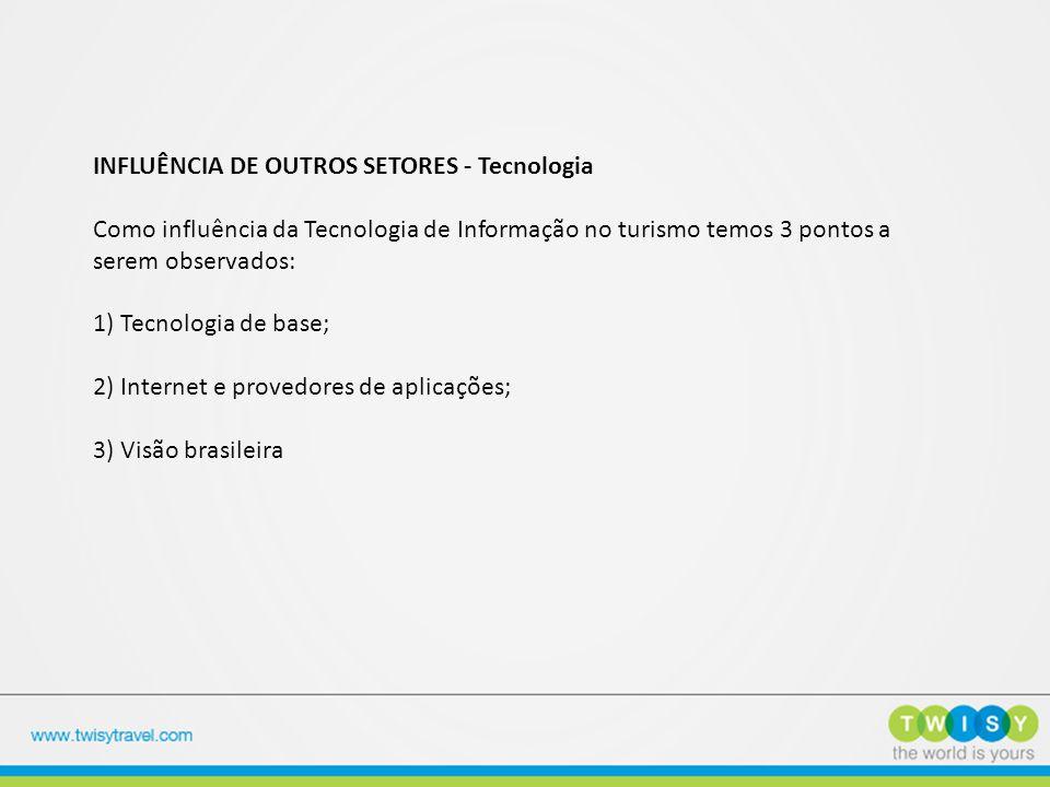 INFLUÊNCIA DE OUTROS SETORES - Tecnologia Como influência da Tecnologia de Informação no turismo temos 3 pontos a serem observados: 1) Tecnologia de b