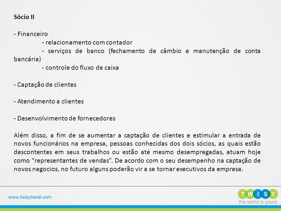 Sócio II - Financeiro - relacionamento com contador - serviços de banco (fechamento de câmbio e manutenção de conta bancária) - controle do fluxo de c