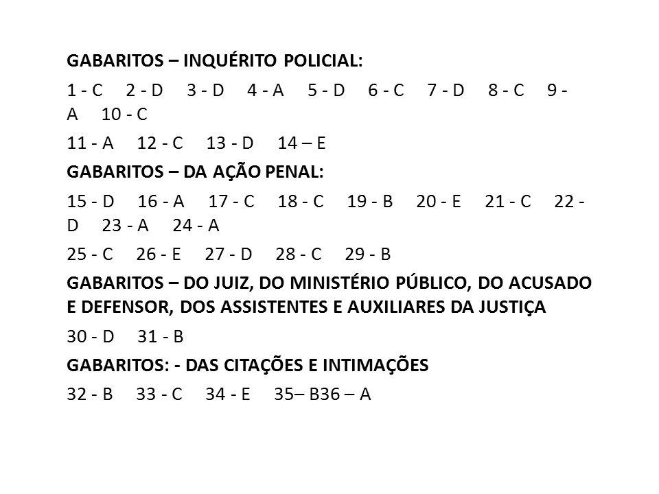 GABARITOS – INQUÉRITO POLICIAL: 1 - C 2 - D 3 - D 4 - A 5 - D 6 - C 7 - D 8 - C 9 - A 10 - C 11 - A 12 - C 13 - D 14 – E GABARITOS – DA AÇÃO PENAL: 15