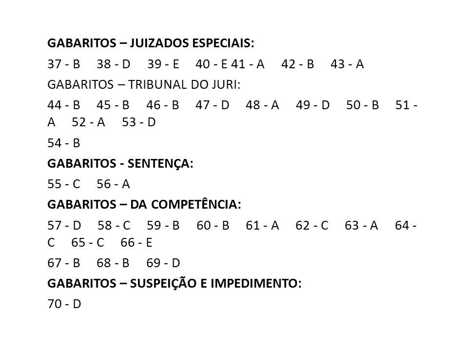 GABARITOS – JUIZADOS ESPECIAIS: 37 - B 38 - D 39 - E 40 - E 41 - A 42 - B 43 - A GABARITOS – TRIBUNAL DO JURI: 44 - B 45 - B 46 - B 47 - D 48 - A 49 -