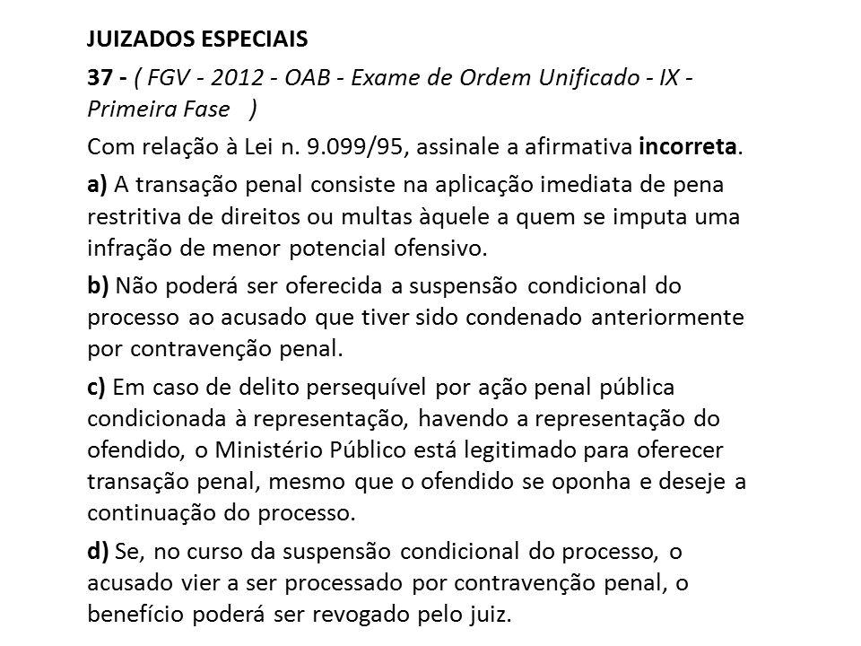 JUIZADOS ESPECIAIS 37 - ( FGV - 2012 - OAB - Exame de Ordem Unificado - IX - Primeira Fase ) Com relação à Lei n. 9.099/95, assinale a afirmativa inco