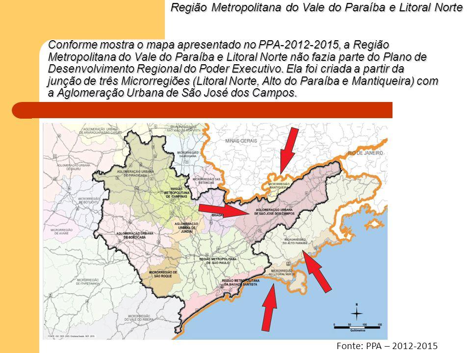 Conforme mostra o mapa apresentado no PPA-2012-2015, a Região Metropolitana do Vale do Paraíba e Litoral Norte não fazia parte do Plano de Desenvolvim