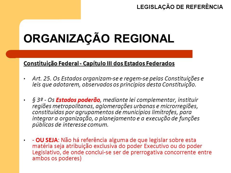 ORGANIZAÇÃO REGIONAL Constituição Federal - Capítulo III dos Estados Federados Art. 25. Os Estados organizam-se e regem-se pelas Constituições e leis