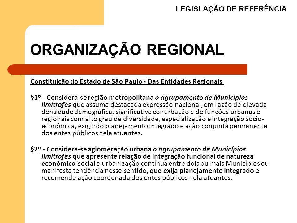 ORGANIZAÇÃO REGIONAL Constituição do Estado de São Paulo - Das Entidades Regionais Constituição do Estado de São Paulo - Das Entidades Regionais §1º -