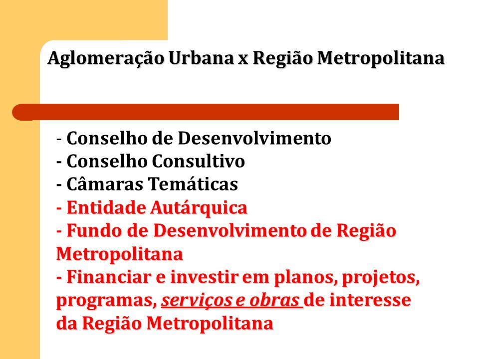 Aglomeração Urbana x Região Metropolitana - Conselho de Desenvolvimento - Conselho Consultivo - Câmaras Temáticas Entidade Autárquica - Entidade Autár