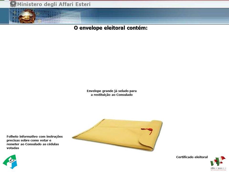 Envelope pequeno O envelope eleitoral contém: Envelope grande já selado para a restituição ao Consulado Folheto informativo com instruções precisas so
