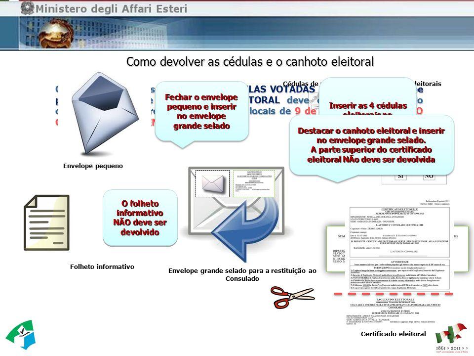 Como devolver as cédulas e o canhoto eleitoral Envelope grande selado para a restituição ao Consulado Folheto informativo O envelope grande selado com