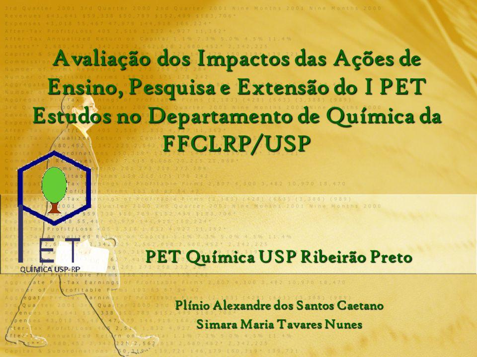 Avaliação dos Impactos das Ações de Ensino, Pesquisa e Extensão do I PET Estudos no Departamento de Química da FFCLRP/USP PET Química USP Ribeirão Pre