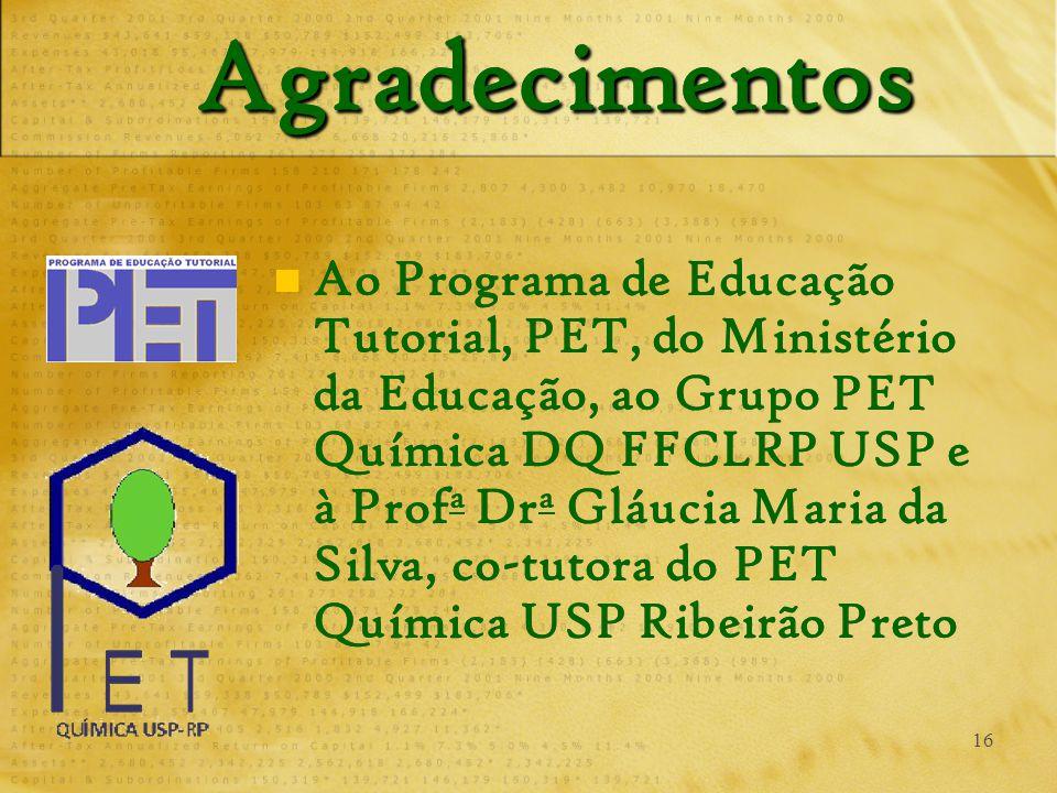 16 AgradecimentosAgradecimentos Ao Programa de Educação Tutorial, PET, do Ministério da Educação, ao Grupo PET Química DQ FFCLRP USP e à Prof a Dr a Gláucia Maria da Silva, co-tutora do PET Química USP Ribeirão Preto
