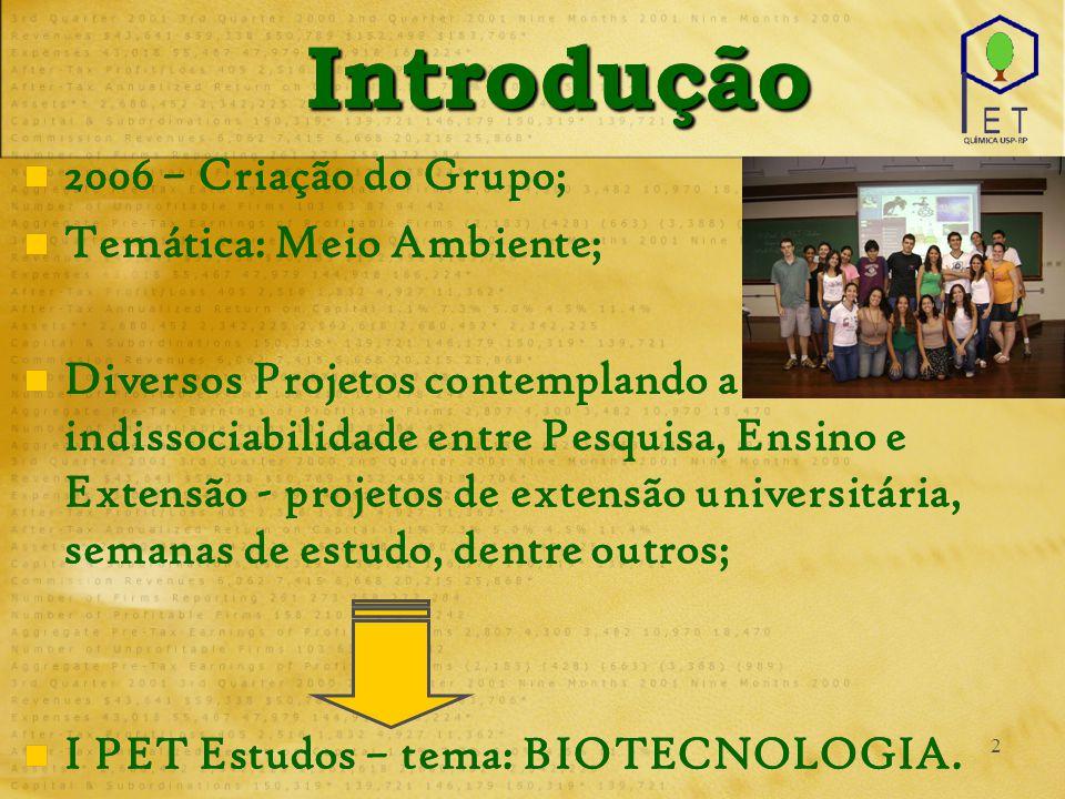 2 IntroduçãoIntrodução 2006 – Criação do Grupo; Temática: Meio Ambiente; Diversos Projetos contemplando a indissociabilidade entre Pesquisa, Ensino e