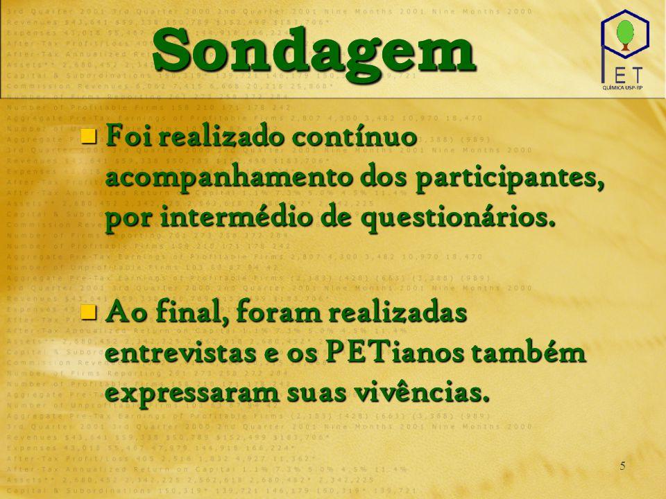5 SondagemSondagem Foi realizado contínuo acompanhamento dos participantes, por intermédio de questionários.