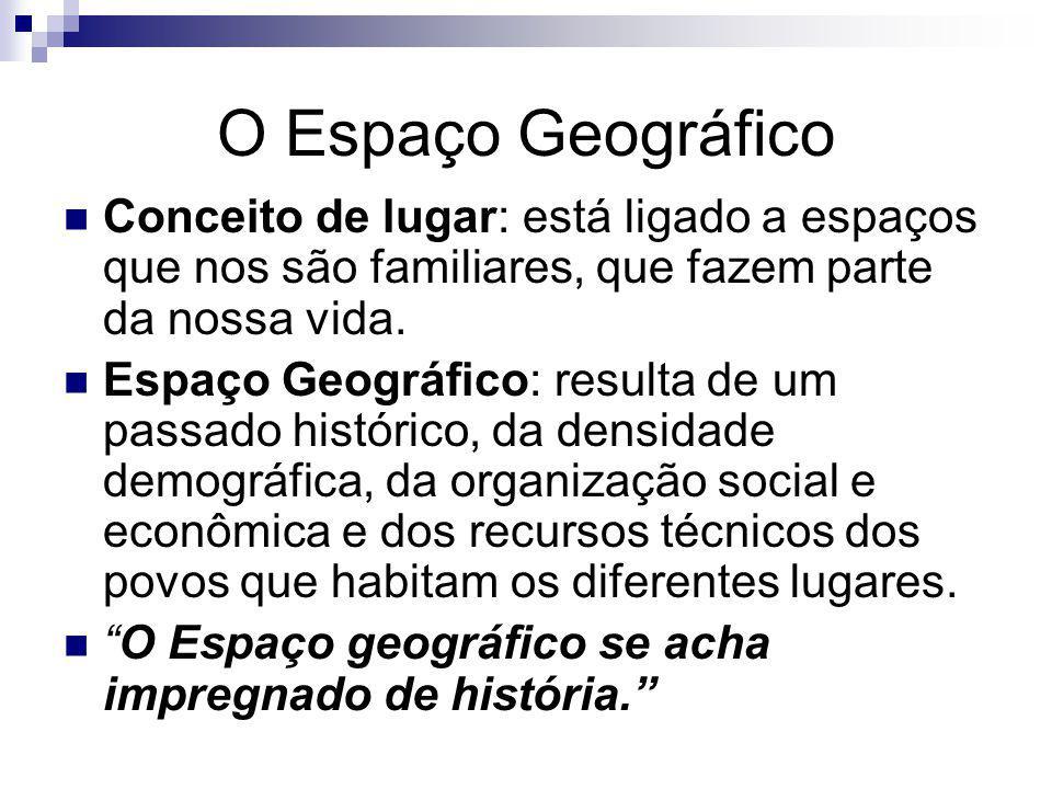 O Espaço Geográfico Conceito de lugar: está ligado a espaços que nos são familiares, que fazem parte da nossa vida. Espaço Geográfico: resulta de um p