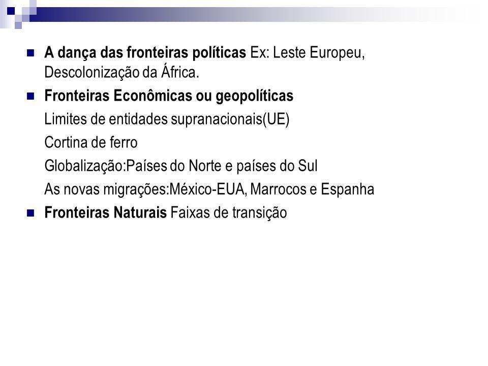 A dança das fronteiras políticas Ex: Leste Europeu, Descolonização da África. Fronteiras Econômicas ou geopolíticas Limites de entidades supranacionai