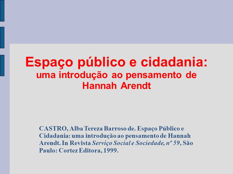 Espaço público e cidadania: uma introdução ao pensamento de Hannah Arendt CASTRO, Alba Tereza Barroso de. Espaço Público e Cidadania: uma introdução a